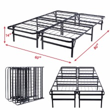 GOPLUS Queen Size Platform Metal Bed Frame Mattress Foundation 80'' 60'' 14'' HW51148(China)