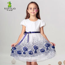flower girl dress Summer Chiffon Embroidery Appliques Sequined Girls Dresses Brand Teenage Kids Clothes Baby Children's Clothing(China)