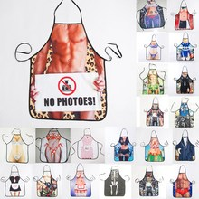 1Pcs Fashion Sexy Man Women Muscle Printed Apron Bibs Home Cooking Baking Party Funny Cleaning Aprons Kitchen Accessories 46094(China)