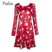 Pzalza Festival Dress 2017 New Women Merry Christmas Party Dress Print Character Snowman Christmas Dress For Europe Female(China)