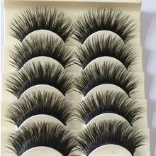 5 Pairs Women Fashion Natural Long Fake Eye Lashes Handmade Thick False Eyelashes Black Makeup Tool New(China)
