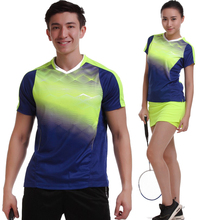 2017 Women/Men table tennis clothes team game training running V Neck T Shirts Sportswear Quick Dry breathable badminton shirt(China)