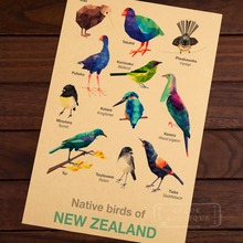 Bird Geometric birds Map of New Zealand NZ Vintage Retro Decorative Frame Poster DIY Wall Home Posters Home Decor Gift