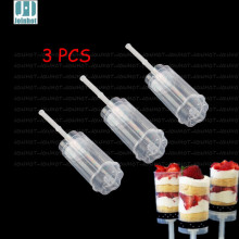 3 PCS  flowers  Wintersweet Shaped Empty Push Up Pop Cake Containers for Cupcake Shooters with Lid