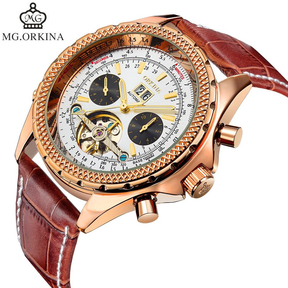 2017 MG.Orkina Mult-functional Mens Watch Orologio Uomo Day/Week Auto Mechanical Watches Wristwatch Gift Box Free Ship<br>