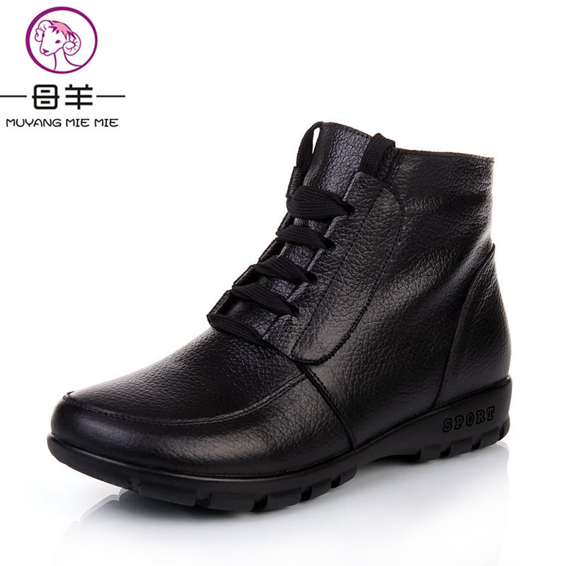 MUYANG MIE MIE 2017 New Fashion Winter Women Shoes Woman Genuine Leather Flat Snow Boots Winter Ankle Boots Women Boots<br>