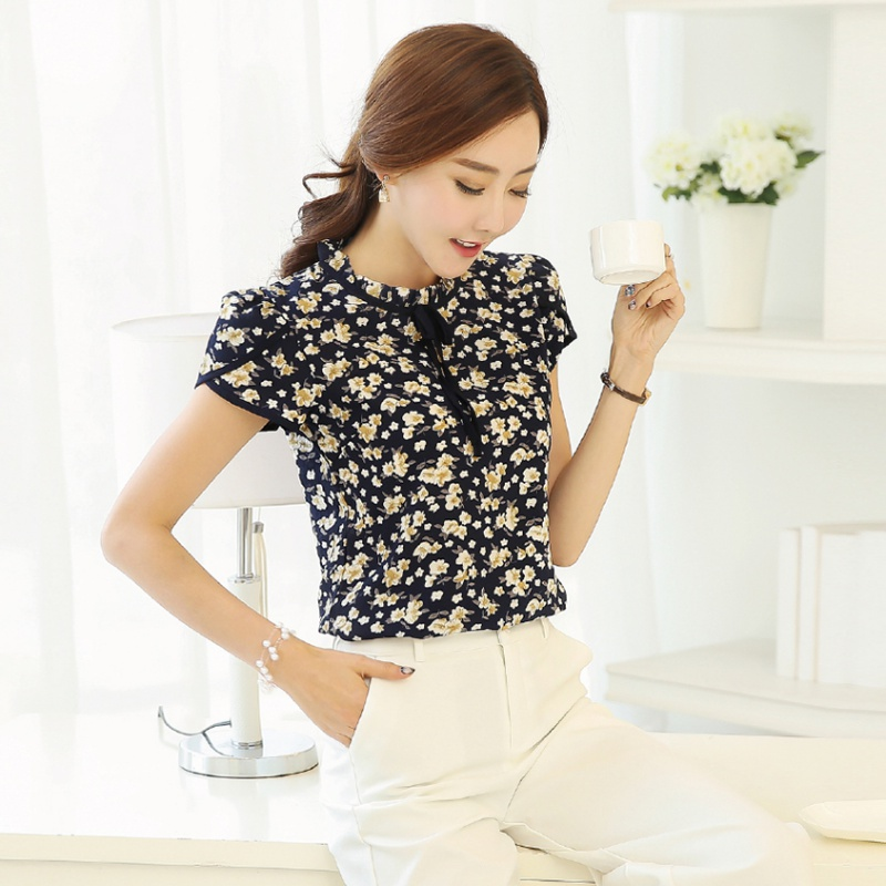 New Women Chiffon Blouse Short Sleeve Floral Print Tops Ruffled Collar Bow Neck Shirt Petal Blusas Femininas(China)
