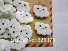 Wholesale 50pcs Kawaii Hot Selling Light White Cloud for Hair Bow Center, Scrapbooking Phone Deco, DIY (25*20mm)(China)