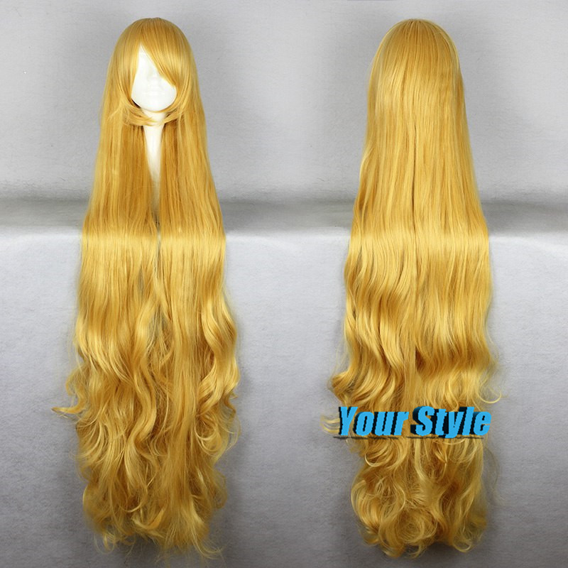150cm New Cheap  Long Blonde Golden Cosplay Wig  Gosick Victorique De Blois Long Wavy Curly Costume Wig Hair With Bangs<br><br>Aliexpress