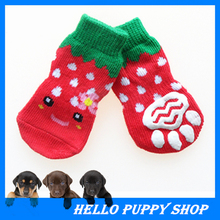 4pcs/set Cotton Knitting Wool Dog Socks Soft Pet Cat Puppy Socks Dog Footprints Pet Doggy Shoes with Bottom Non-slippery Socks