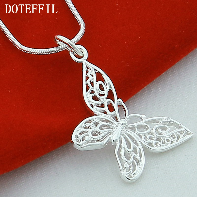 DOTEFFIL 925 Sterling Silver Butterfly Pendant Necklace 18/20/22/24 inch Snake Chain For Women Wedding Engagement Jewelry