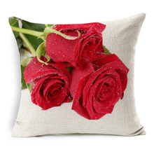3D Effect Red Rose Cushion Cover Beautiful Fresh Roses Floral Cushion Covers Home Sofa Decorative Beige Linen Pillow Case
