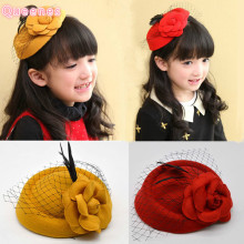 Korean Cute Girl Mini Hat Hair Accessories Fashion Princess Kid Flower Fascinator Fedora Hat Pink Yellow Red Kid Party Headpiece