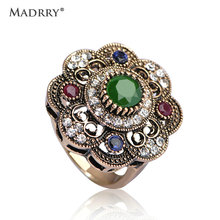 High Quality Vintage Sculpture Flowers Rings Green Jewelry Fashion Turkish Cystal AntiSilver Finger Ring Aneis Anel Christmas