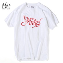 Hanhent Men's T Shirts 2016 New Fashion Unique Angel Letters Printed Hip Hop Casual T-shirt Customized 3D T Shirt New Design(China)