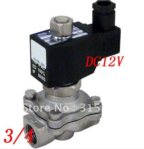Free Shipping 5PCS/Lot 12v 3/4 NC 2-way Stainless Steel Solenoid Valve VITON Oil Gas Acid Fluid Square Coil<br><br>Aliexpress