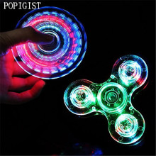 POPIGIS Toys Crystal LED Hand Fidget Clear Flash Light EDC Finger Spinner For Autism ADHD Relief Focus Anxiety Stress Relax Gift