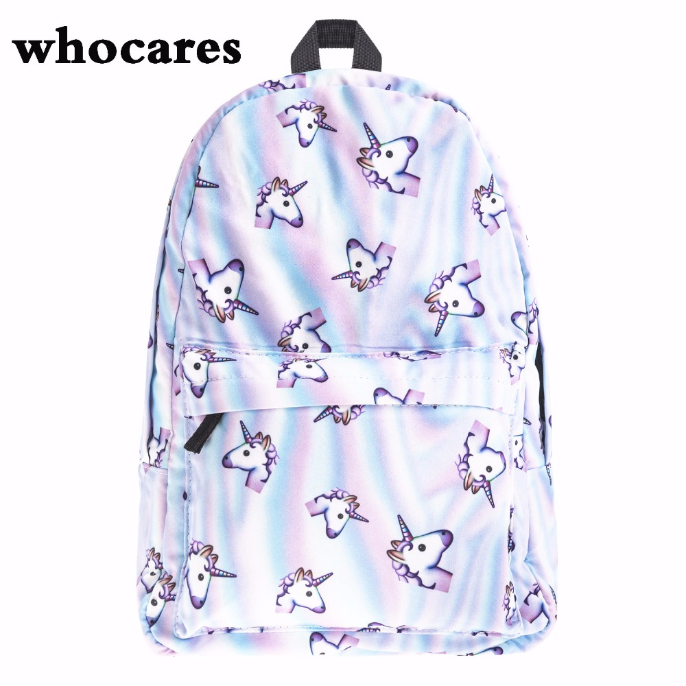 holo unicorn 3D Printing backpack women bag mochila top quality bookbag school bags for teenage girls sac a dos canvas backpacks<br><br>Aliexpress
