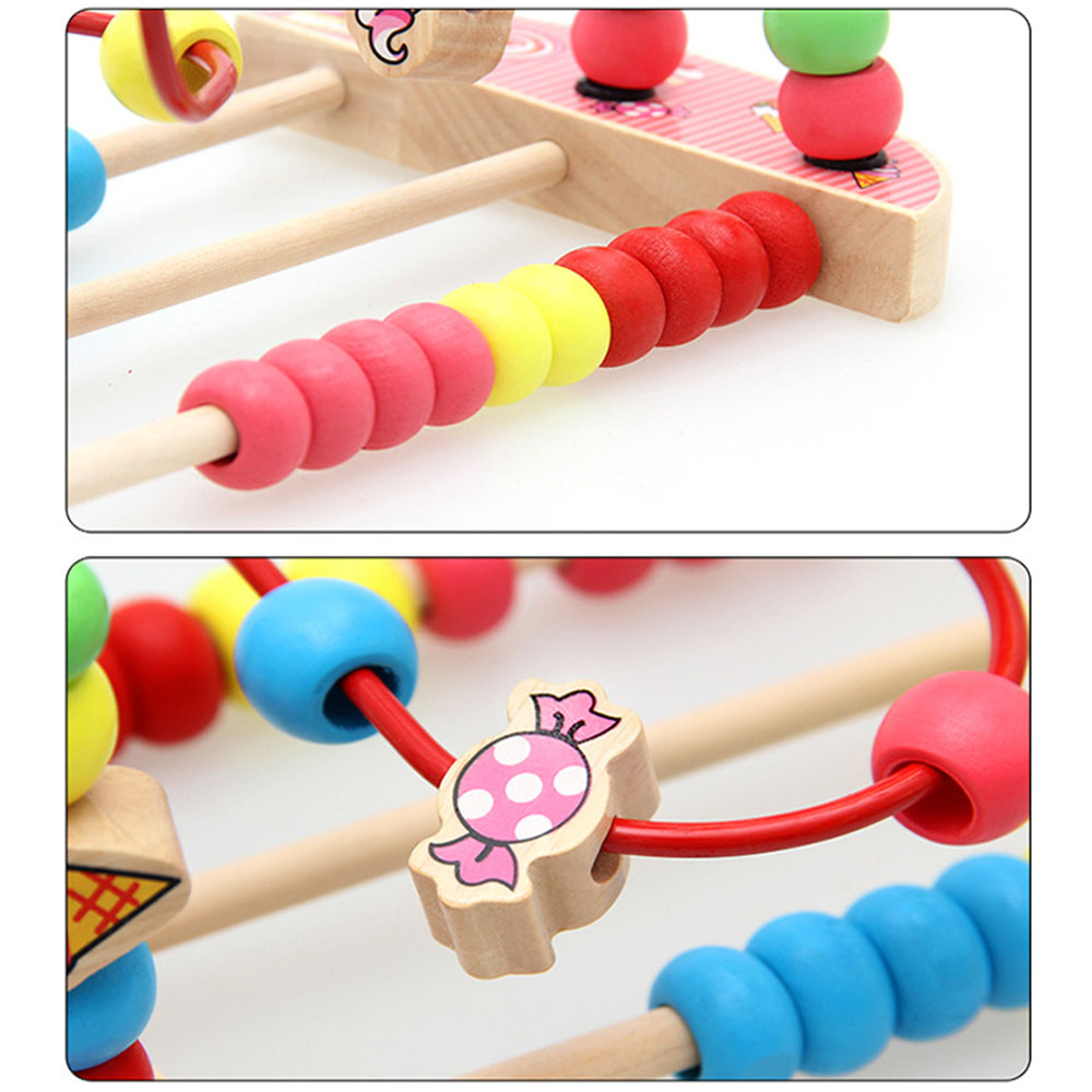 Baby Toys Colorful Bead Maze Child Educational Toy Wooden Animal Fruit Blocks Building Blocks Toy Gift Model Building Kits 7