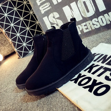 New Fashion Snow Rain Women's Shoes Flats Boots Suede Round Toe Winter Plush Fur Slip On Sewing Ankle Superstar Rubber QX-B088