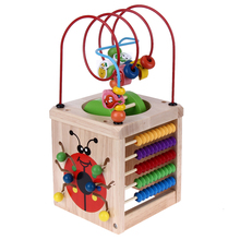 Wooden Block Math Toy Around Bead Maze Letters Recognition Abacus Clock Learning Toy Educational Toy(China)