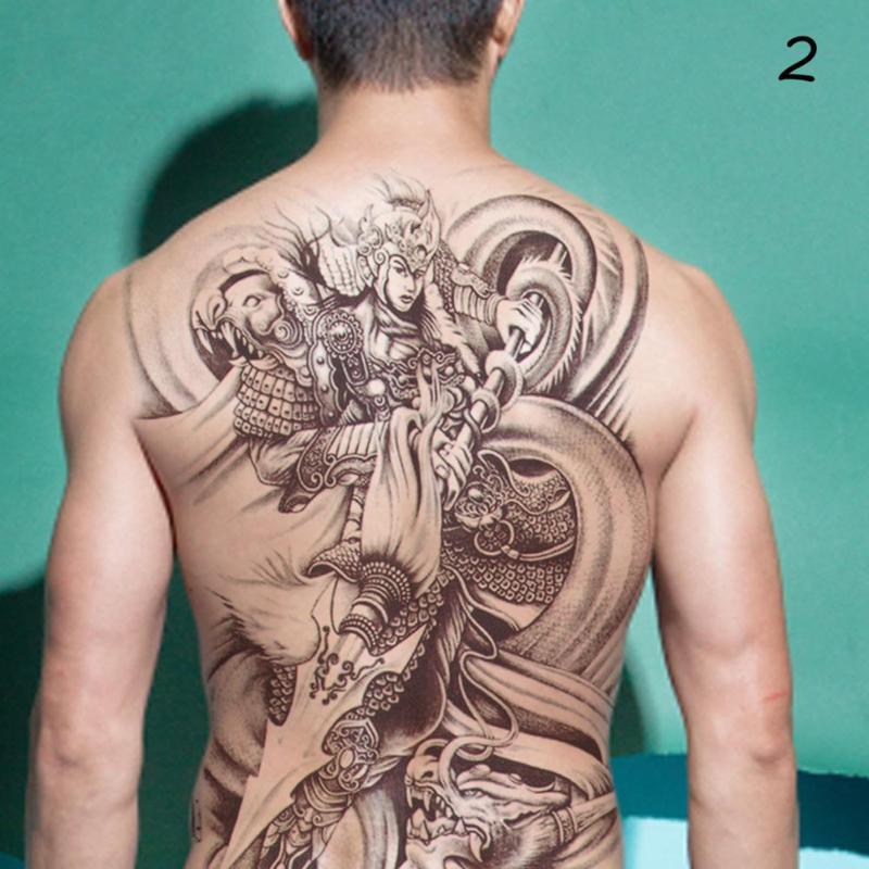 48*35cm Big size buddha ghost totem tattoo stickers men women waterproof full back body temporary tattoos RP2 3