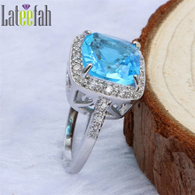 Lateefah Luxury Created Aquamarine Wedding Rings for Women White Gold Color Cushion Cut Big Cubic Zirconia Promise Rings Anel