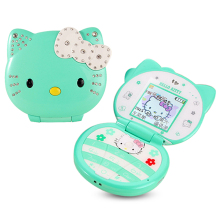 KUH T99 flip lovely unlocked cartoon cat small women kids girls diamond Bluetooth dialer cute mini cell mobile phone P081