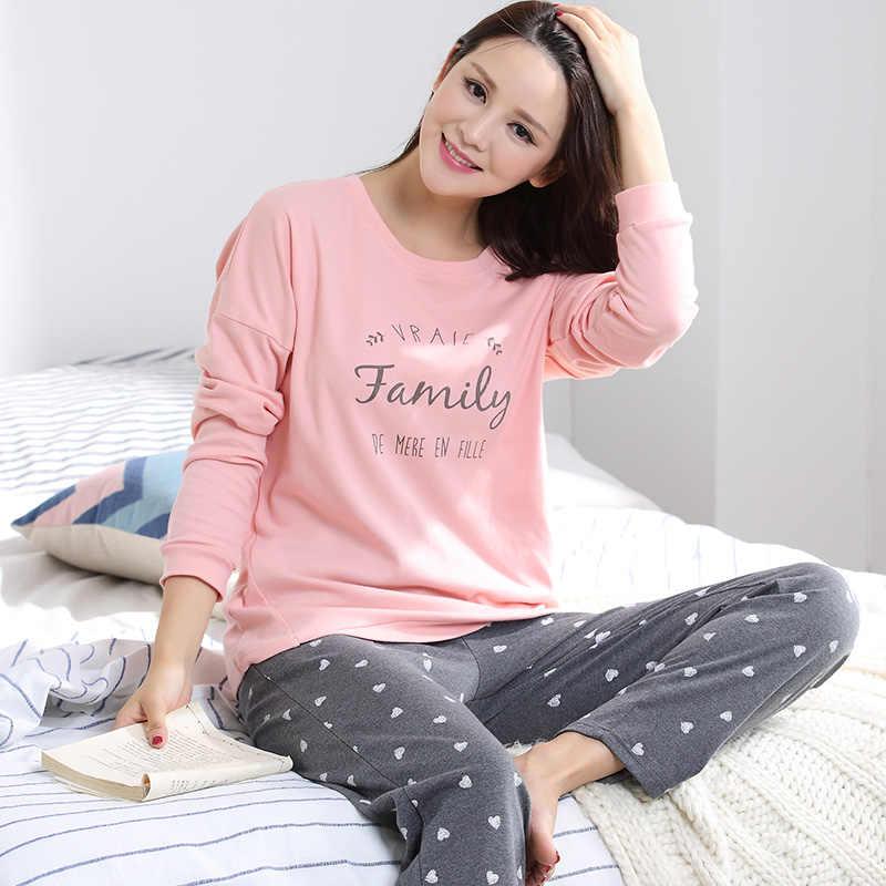 Осень с длинными рукавами 100% хлопок Для женщин домашняя одежда Пары  Соответствующие пижамы для взрослых c7d22be0384b9