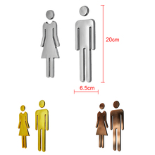 New Hot Man&Woman WC Decals Toilet Signs Restroom Washroom Signage Plaque Wall Mirror Surface Stickers Creative Toilet Signs(China)