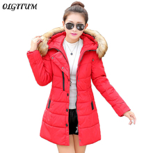 2017 women jacket and parks cotton long section padded jacket Korean version of loose big yards women's winter fur collar coat