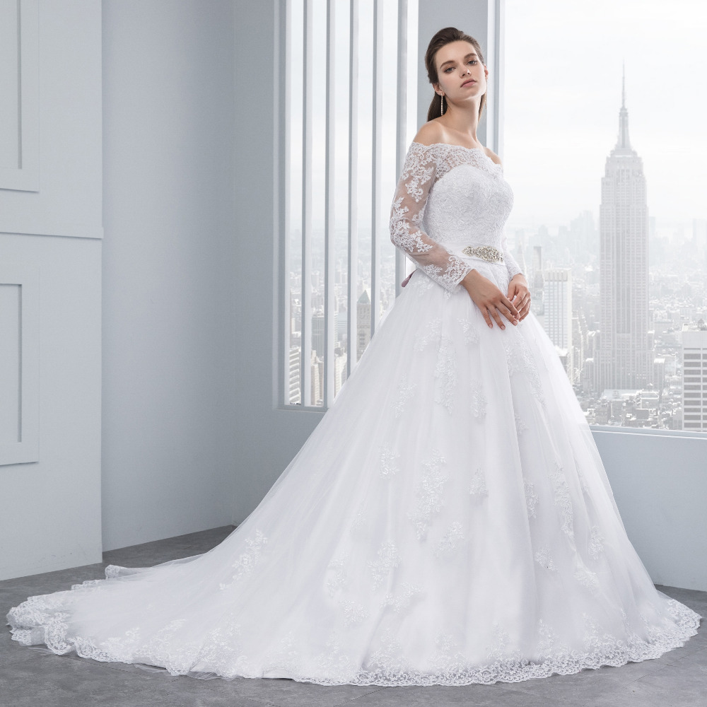 Lover Kiss Wedding Dresses Princess Lace Bridal Bride Gowns with veil robe de mariage Luxury Vintage Long Sleeves off Shoulder 3