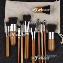 11pcs Makeup Bamboo Brushes Set Face Powder Eye Shadow Foundation Shadding Brush