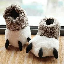 Fashion Thermal Winter Indoor Cotton Padded Plush Cartoon Bear Claw Non-slip Slippers Home Cotton Slippers Floor Shoes(China)