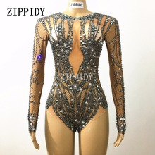 Sparkly Black Crystals Nude Bodysuit Performance Outfit Costume Party Celebrate Glisten Rhinestones Stretch Leotard Stage Wear