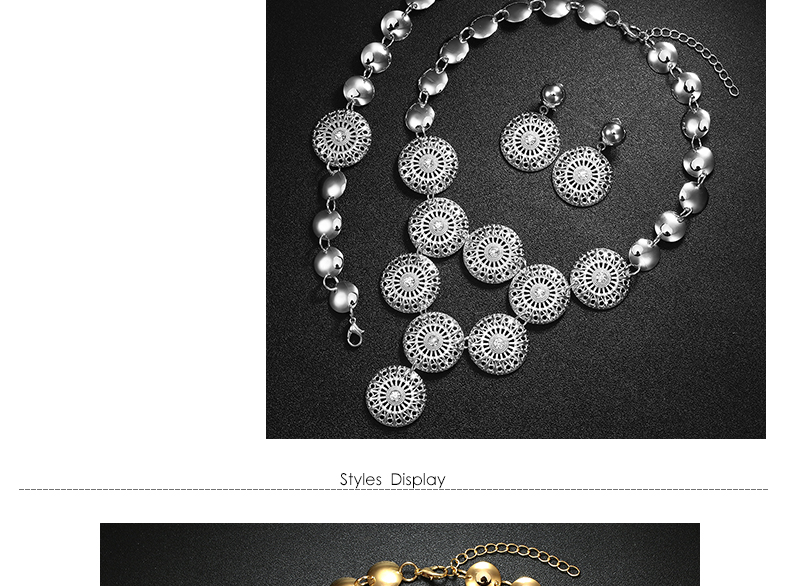 BTSETS African Jewelry Set Nigerian Wedding Jewelry Sets For Brides Silver Gold Color Round Ladies Fashion Jewelery Sets (4)