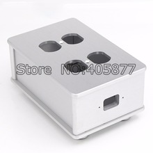 Viborg HIFI US AC Power Strip Bar Distributor Aluminum 4 Outlet Box HIFI Chassis silver