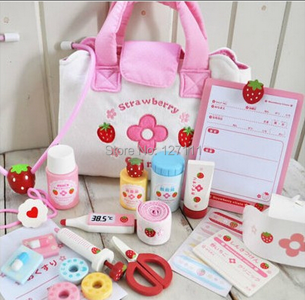 Janpanese Kitchen Garden wooden toys strawberry  doctor toy set  Pretend Play Toys Educational Toys doctora juguetes brinquedos<br><br>Aliexpress