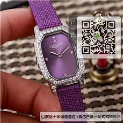 精仿浪琴时尚女表石英表真皮表带精钢表23MM☼