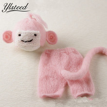 2017 Newborn Lovely Monkey Hat Pants with Tail Pink Baby Girl Set Baby Photo Props Crochet Infant Hat fotografia newborn