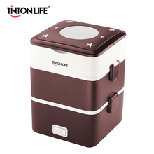 TINTON LIFE Electric Heating Container Mini Rice Cooker Double Insulation Plug Heating Multi-function Cooking Steaming Lunch Box(China)