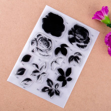 Flowers and leaves Scrapbook DIY photo cards account rubber stamp clear stamp finished transparent chapter 11*16