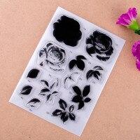 Цветы и листья записки DIY карт фото учетной записи штамп ясно штамп закончил Прозрачный глава 11*16