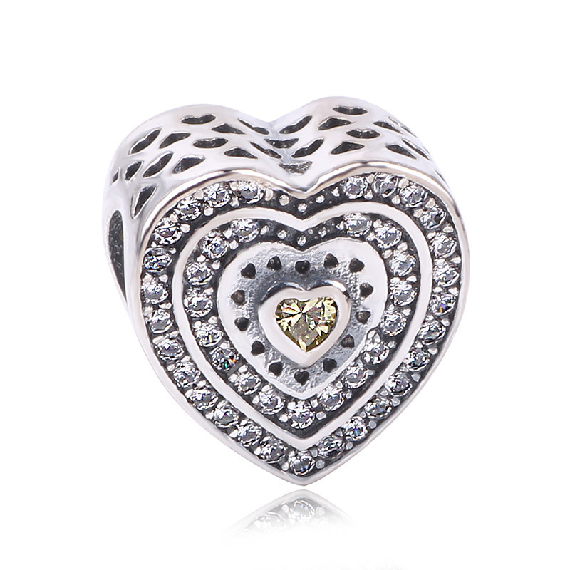 Couqcy 2017 Fits Pandora Bracelet Love Friendship Openwork Flower Charms S925 Sterling Silver CZ Heart Beads For Jewelry Making(China (Mainland))