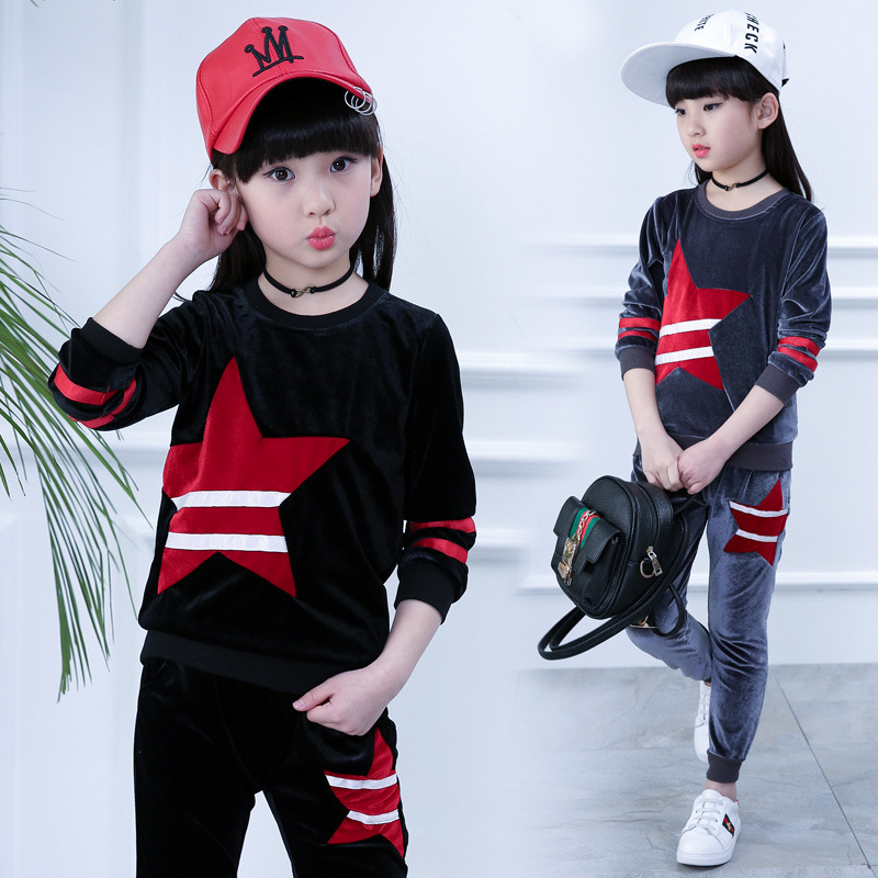Spring Clothes Pattern Girl Five-pointed Star Long Sleeve Leisure Time Child Motion Suit Girl Student 2 Pieces Kids Clothing Set<br>