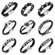Perfect Technology Cool Men's Boy's Black Leather Wristband 316L Stainless Steel Bracelet Bangle Jewelry Multiple Choices Punk(China)