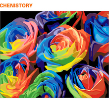 CHENISTORY Colorful Roses DIY Painting By Numbers Kits Home Wall Art Decoration Handpainted Canvas Painting For Living Room(China)