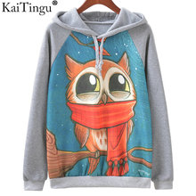 KaiTingu Brand Fashion Autumn Winter Long Sleeve Women Sweatshirt Harajuku Owl Print Hoodies Hooded Tracksuit Jumper Pullover(China)