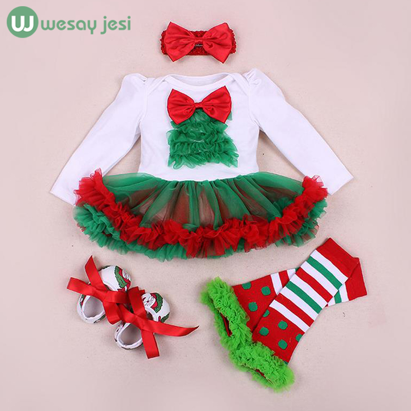 Christmas infant 4pcs sets baby girl clothes Dress lace romper 2017 New Autumn winter rompers Newborn baby clothes costume<br><br>Aliexpress