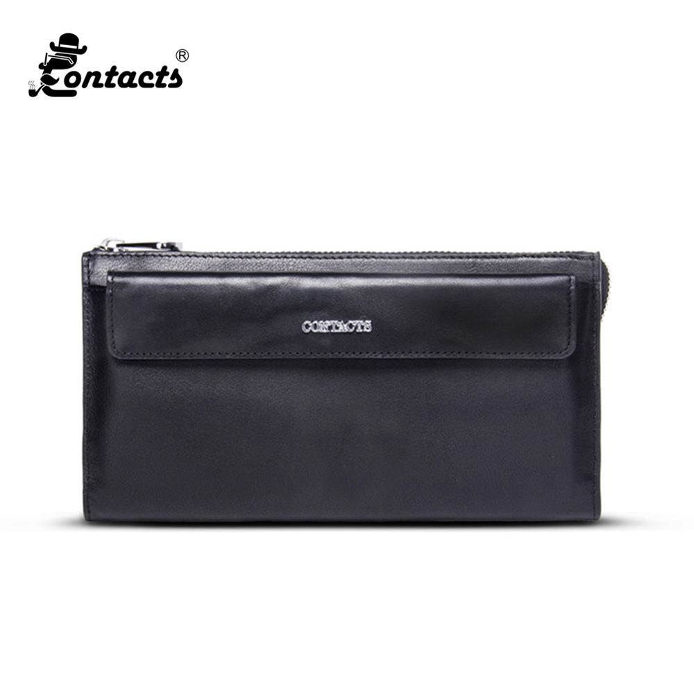 CONTACTS M1237 Leather Men Wallets Solid Organizer Wallets Real Leather Wallet Fashion Designed Brand Wallet Carteira Masculina<br>